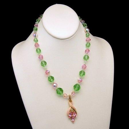 TRIFARI Vintage Pendant Pink Green Enamel Crystal Necklace