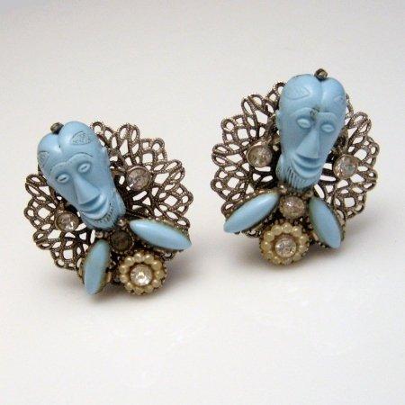 Signed SELRO Vintage Earrings Rare Blue Devil Genie Faces