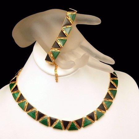 Vintage 950 980 Silver Gold Vermeil Onyx Malachite Necklace Bracelet Set