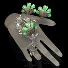 Vintage Sterling Silver Brooch Pin Earrings Set Green Enamel Flowers