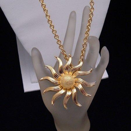 KJL KENNETH JAY LANE Necklace Brooch Pin Convertible Rhinestones Sunburst