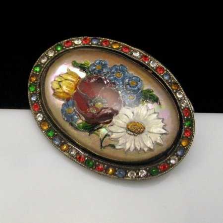 Vintage Brooch Pin Reverse Painted Intaglio Glass Flowers