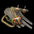 Vintage Long Necklace Earrings Red Green Enamel Hot Air Balloons