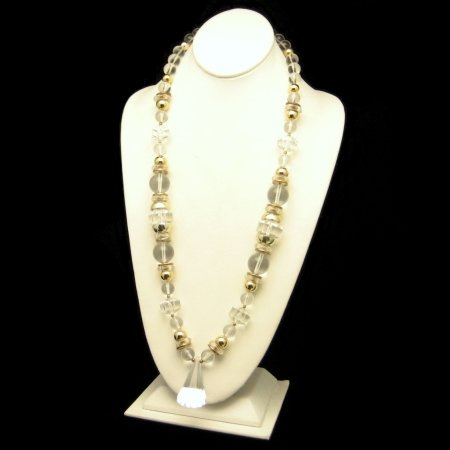 Vintage Chunky Long Necklace Big Lucite Beads Prism Pendant