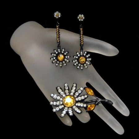 CAPRI Vintage Brooch Pin Earrings Japanned Rhinestones Dangles