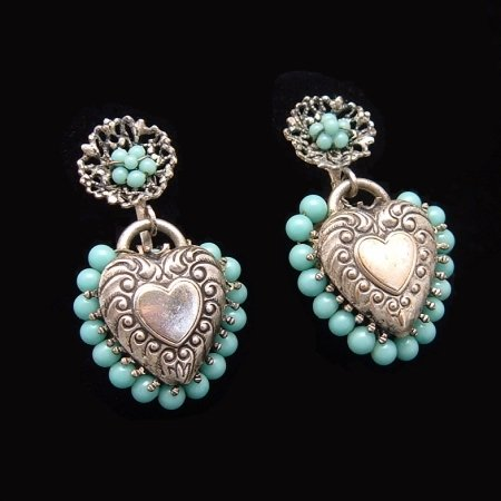 Vintage Earrings Victorian Puffy Hearts Repousse Charms