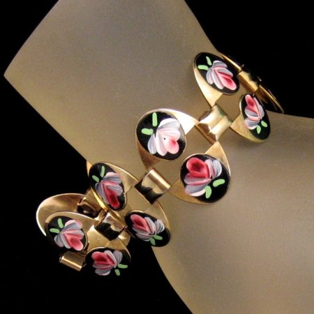 Vintage Bracelet Large Oval Links Black Enamel Red Green Flowers