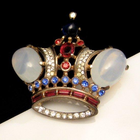 TRIFARI STERLING PAT PEND Brooch Pin Vintage 1940s Large Crown Glass Rhinestones Red White Blue
