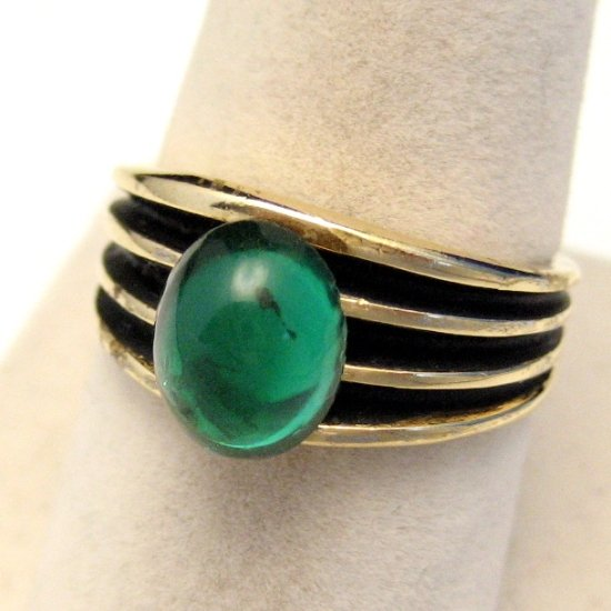 ESPO 14KT Gold Electroplate Vintage Ring Size 8.75 Ridged Band Large Green Glass Stone