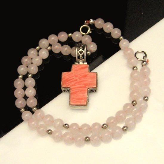 Vintage Cross Necklace Rose Quartz Beads Reversible Filigree