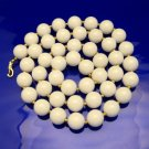 MARVELLA Vintage Chunky Necklace Round White Beads Goldtone Spacers With Tag