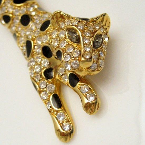 TRIFARI Vintage Large Leopard Brooch Pin Black Enamel Rhinestones BIG