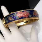 Vintage Wide Bangle Bracelet Blue Cloisonne Flowers Butterflies