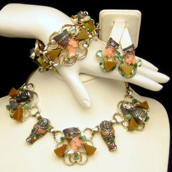 Vintage Necklace Bracelet Earrings Egyptian Revival Enamel Bakelite
