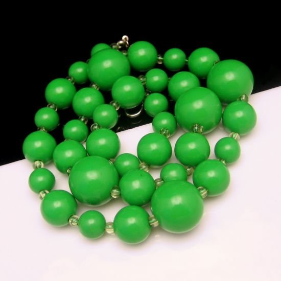 Vintage Large Chunky Bright Green Beads Long Necklace