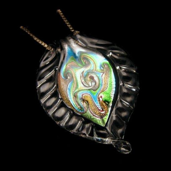 Vintage Necklace Gorgeous Large Leaf Dichroic Glass Pendant