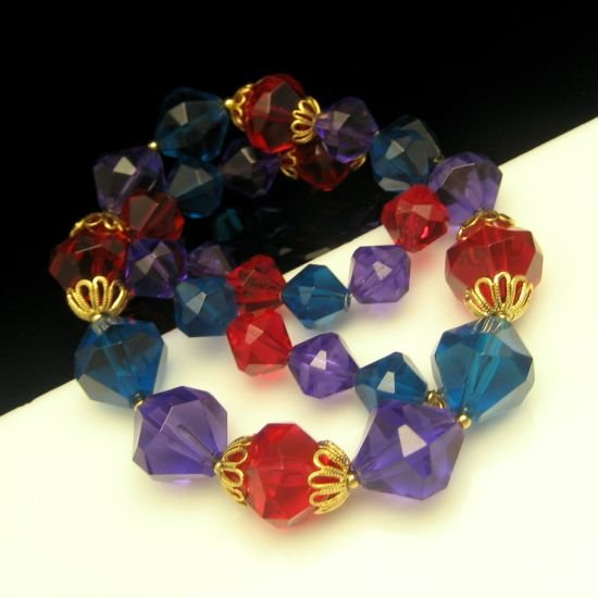 Vintage TRIFARI Chunky Jewel Tone Red Blue Purple Lucite Beads Necklace