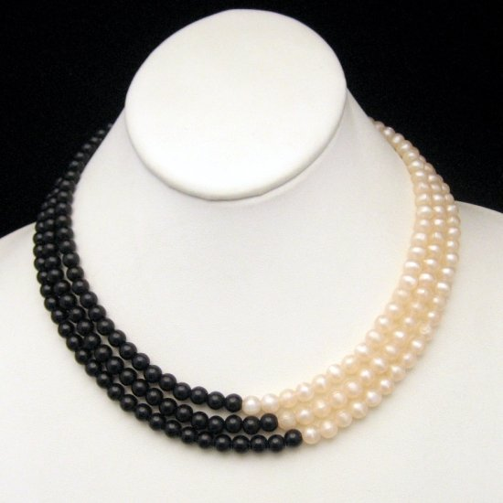 Vintage MONET 3 Strands Black White Faux Pearls Necklace