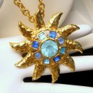 Vintage GRAZIANO Large Blue Sun Star Pendant Brooch Pin Necklace