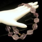Vintage Lucite Faux Amethyst Hexagon Shaped Beads Necklace