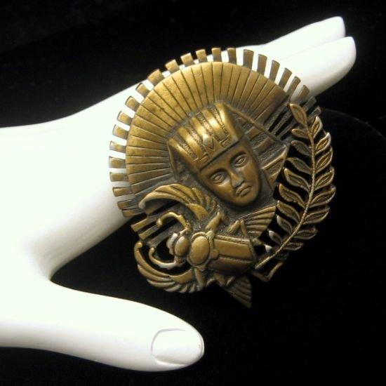 Vintage Egyptian Figural Brooch Pin Pharoah Scarab Beetle