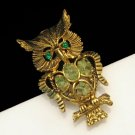 Charming Jade Green Rhinestones Vintage Owl Brooch Pin