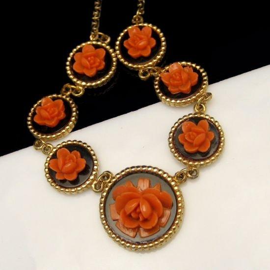 Vintage Necklace 1950s Black Glass Discs Orange Flowers