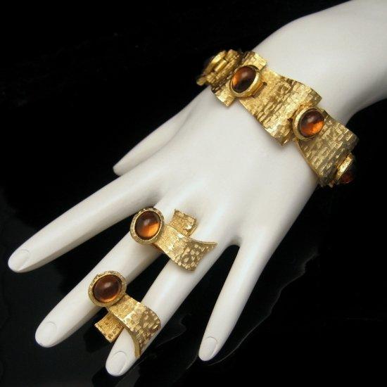 CROWN TRIFARI Amber Foiled Glass Bracelet Earrings BK PC