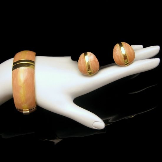TRIFARI KUNIO MATSUMOTO Vintage Pink Enamel Bangle Bracelet and Earrings