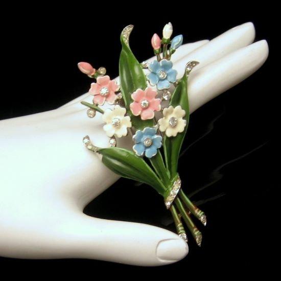 CROWN TRIFARI 1940 Vintage Fur Clip Pastel Enamel Rhinestone Flowers