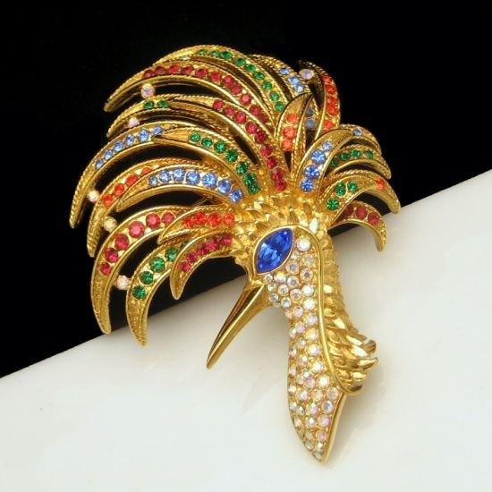 TRIFARI Colorful Rhinestone Firebird Fire Bird Brooch Pin 1996