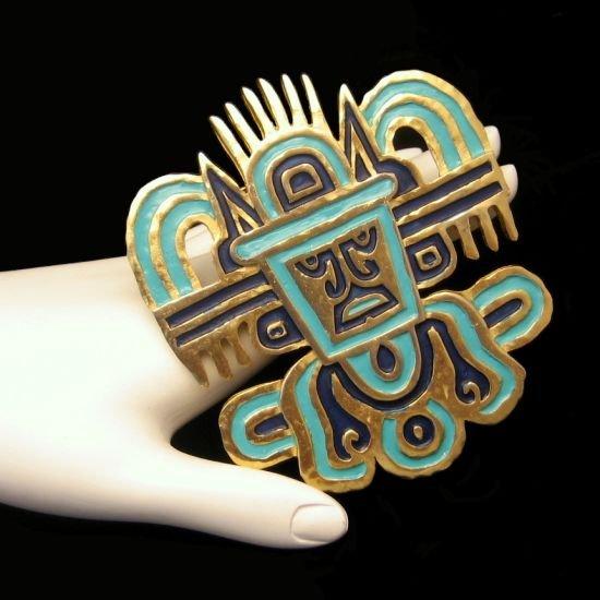 Vintage CROWN TRIFARI Large Blue Green Enamel Tribal Mask Brooch Pin Pendant