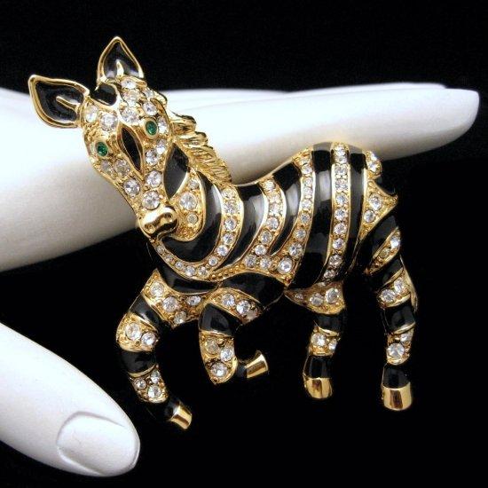 TRIFARI Safari Zebra Brooch Pin Enamel Rhinestones Mint In Box