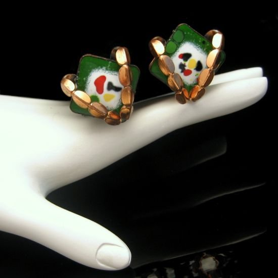 RENOIR MATISSE Vintage Green White Enamel Copper Clip Earrings