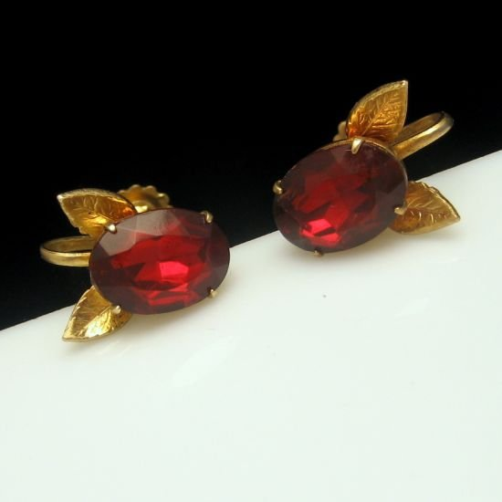 Vintage Early CORO Large Red Glass Rhinestone Leaf Earrings