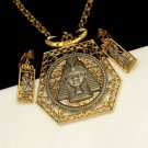 Fabulous Signed ART Vintage Egyptian Revival Necklace and Earrings Set