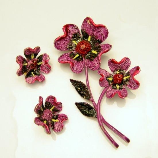 Signed ART Vintage Purple Red Enamel Flower Brooch Pin Earrings