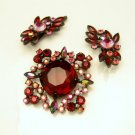 Rare CLAUDETTE Vintage Japanned Red Brooch Pin Earrings Set BOOK PIECE