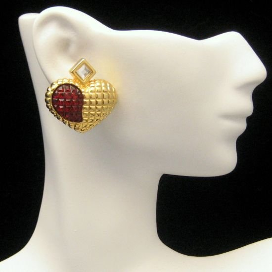 Large Vintage Hearts Red Waffle Crystal Rhinestone Earrings