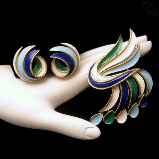 CROWN TRIFARI  Vintage Brooch Pin Earrings Blue Green Enamel Swirls