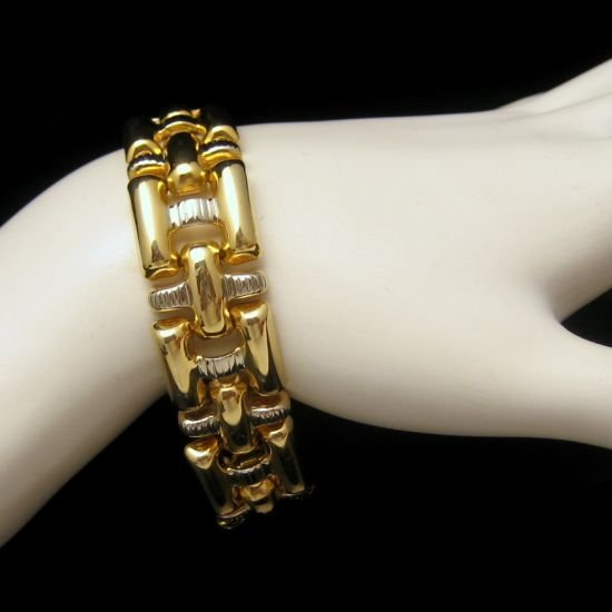 Vintage Chunky Link Bracelet Airy Two Tone Open Design