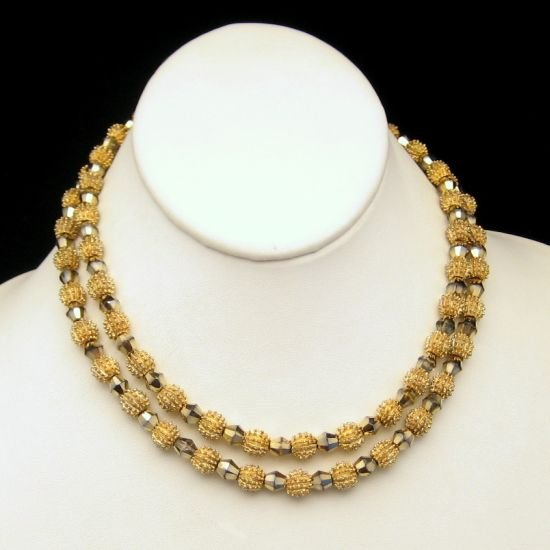 CROWN TRIFARI 2 Strand Electra Gold Plated Aurum 7mm Crystal Beads Necklace