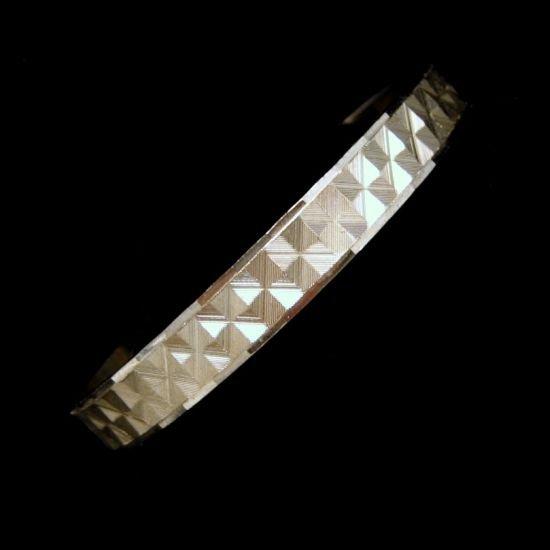 JAPAN Vintage 8 inch Bangle Bracelet Silvertone Etched Squares