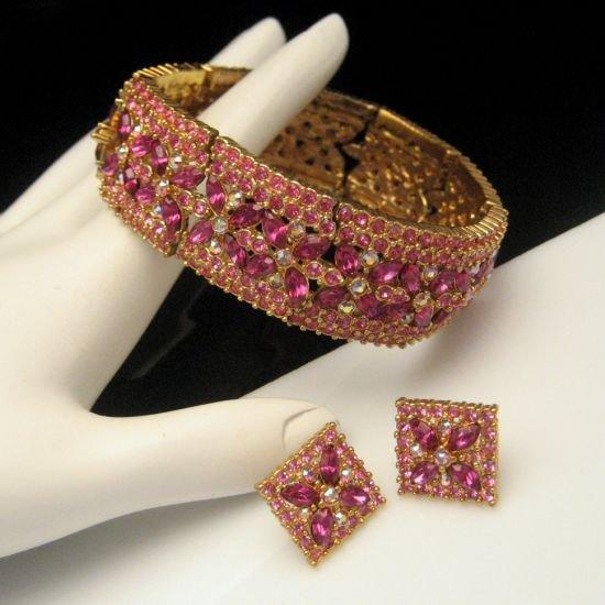 Pink Rhinestone Vintage Bracelet Earrings Set Aurora Borealis AB