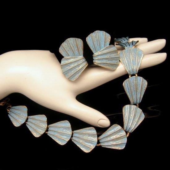 Vintage Necklace Earrings Set Blue Enamel Pretty Shells
