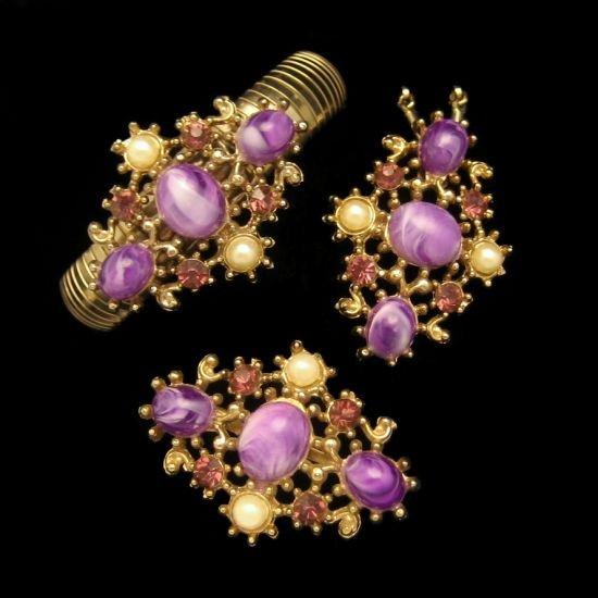 Vintage Necklace Bracelet Brooch Pin Mid Century Purple Swirl Stones Set Rhinestones