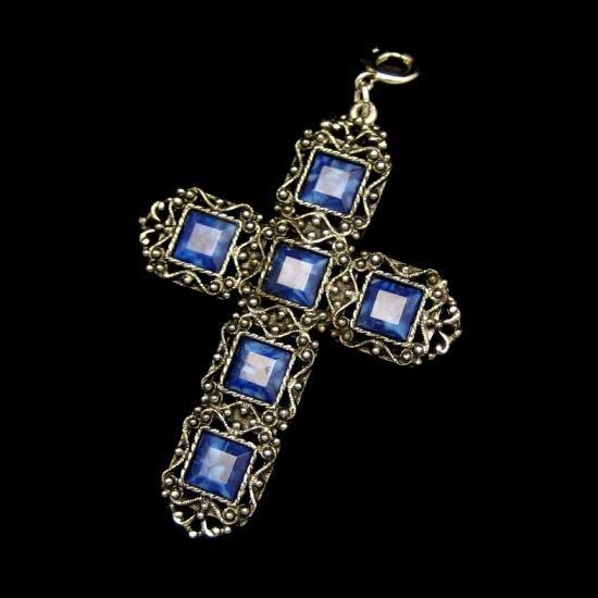 Vintage Reversible Cross Pendant Filigree Large Blue Stones