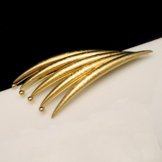 Vintage Large Brooch Pin Modernist Design Grass Cattails Matte