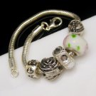 Vintage Thick Silvertone Snake Chain Slide Charm Bracelet Heart Rose Love