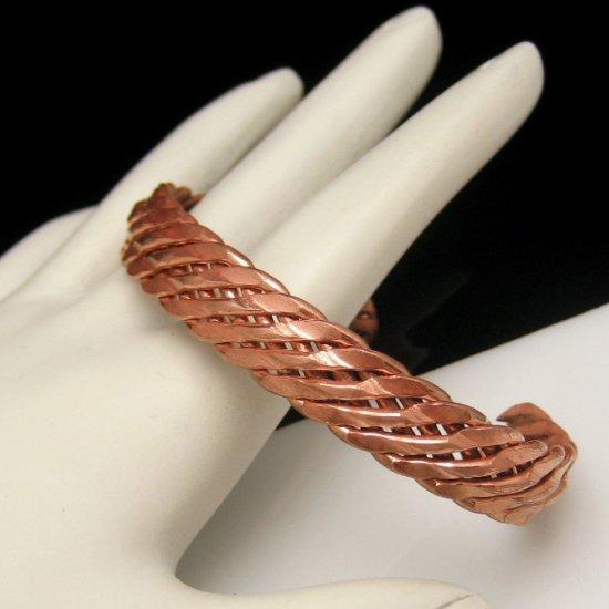 Vintage Copper Braided Bracelet Cuff Bangle Style Unique Design Nice Color